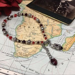 Jewelry - Red Crystal & Silver Tone Beaded Anklet